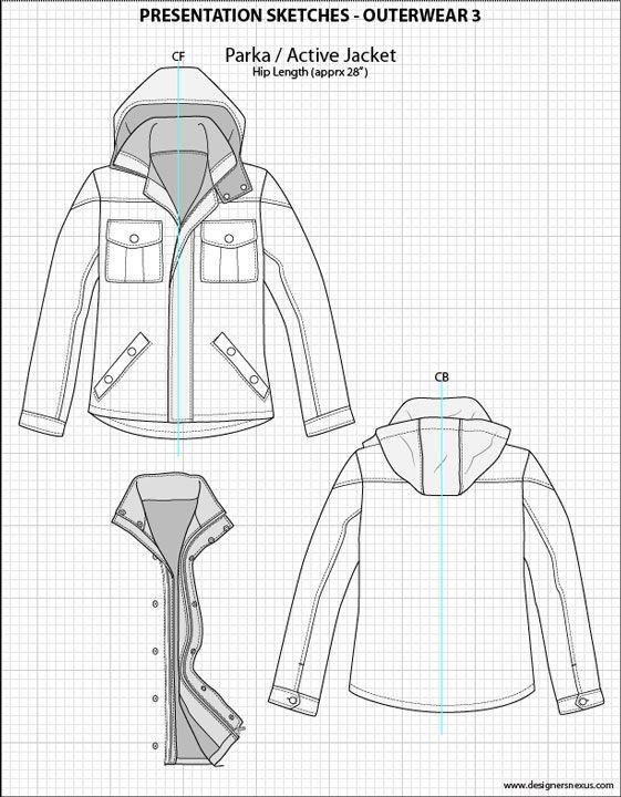 Mens Illustrator Flat Fashion Sketch Templates - Presentation Sketches Outerwear…