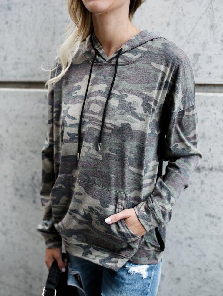 Kangaroo Pocket Drawstring Camouflage Hoodie - CAMOUFLAGE S