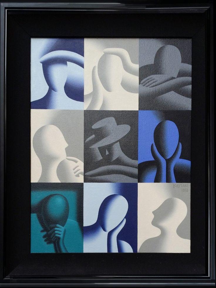 Mark Kostabi, Conversation Pieces (Deep Concentration), 1998, RoGallery