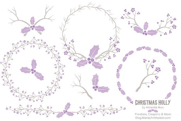 Lavender Holly Wreaths & Branches by Amanda Ilkov on @creativemarket