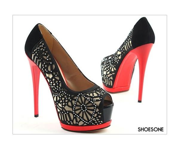 2199  Cubic Crystal Red Platform Black Open Toe Heels (14cm)