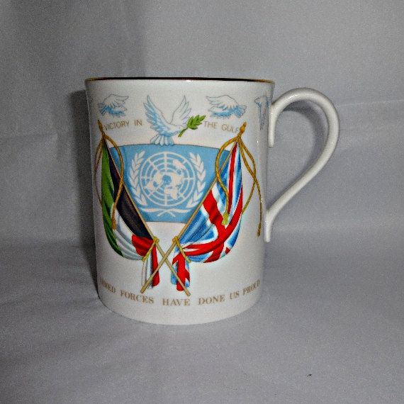 The Gulf War Victory Cup Royal Worcester Mug Combined Operations The United Nations John Major President Bush Armed Forces Britain Kuwait