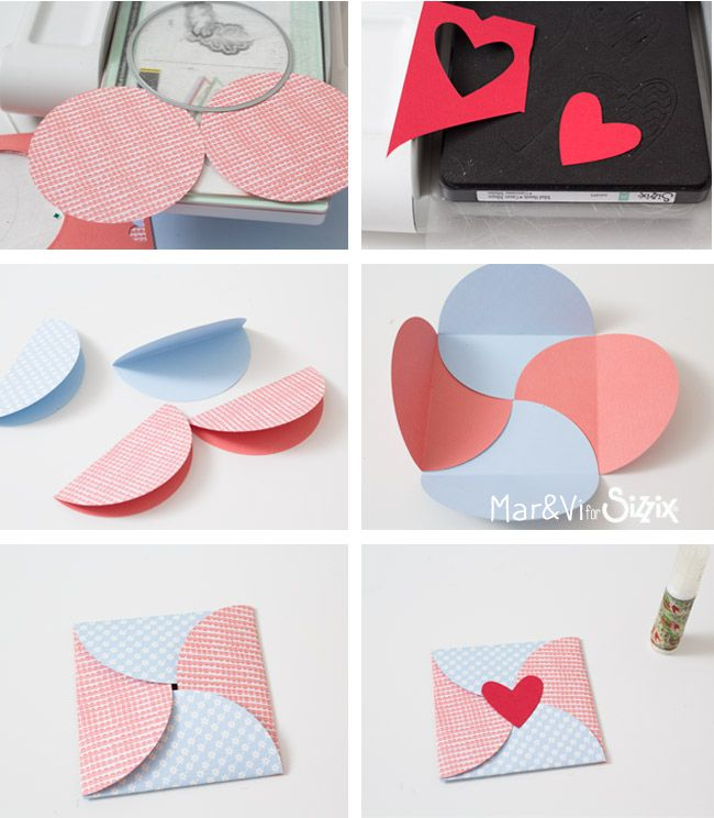 This simple envelope made with paper circles is perfect for Valentine's Day! Created by Cintia Scianna with Sizzix Framelits Die Set 8PK - Circles (657551) •Sizzix Bigz Die - Tribal Hearts (660495) • Big Shot •scrapbooking paper •craft glue