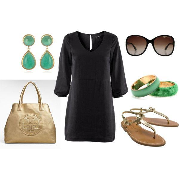 black quarter length sleeve dress, mint blue earrings & bracelets, dust gold sandals - spring / summer