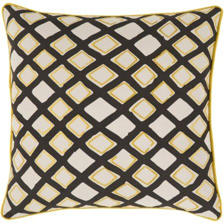 The Pillow Collection Rizwan Geometric Black White Down Filled Throw Pillow