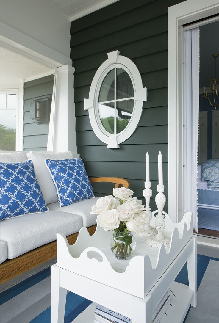 Kelley Interior Design • great exterior color ! Really makes the white look fresh & bright . Love the coastal look !