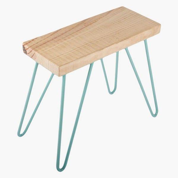 Taburete de madera Saleta Bench verde agua - Taburetes bajos de madera - Taburetes bajos - Taburetes - Sillas y sofás - Hogar