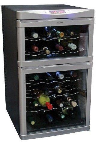Wine Cooler 24 Bottle Black Dual-Zone Design Stainless Steel Fridge Cellar  Storage Freestanding Digital Controls 5 Removable Racks Thermoelectric  Cooling ...