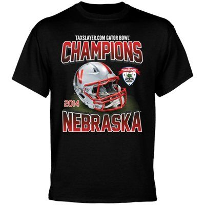 Nebraska Cornhuskers 2014 Gator Bowl Champions Modern Helmet Champ T-Shirt - Black
