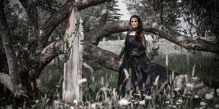 Fantasy Gothic Victorian Black Silk Dupion Ball Gown    Photographer: Vanessa Wood from Suede Studios http://www.suedestudios.co.nz/.  Model, Hair & Makeup: Alyssia Atonio.  Styling: Vanessa Wood & Vanessa Burton Designer: V J Burton Gowns
