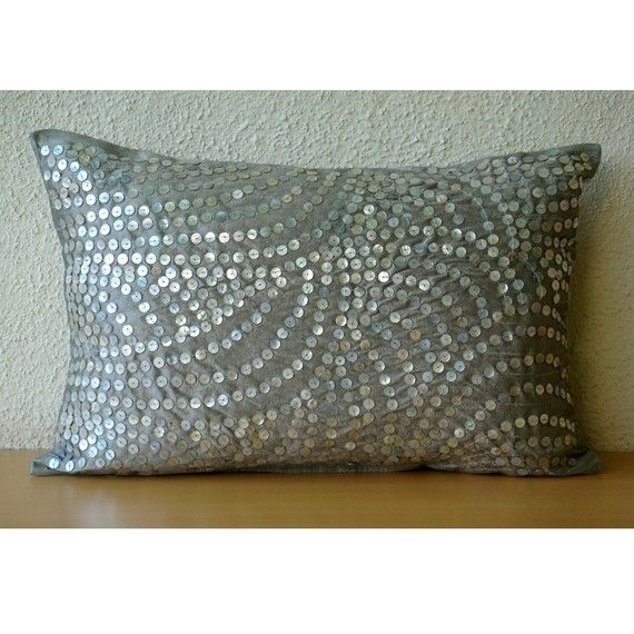 Decorative Oblong / Lumbar Rectangle Throw Pillow Covers Accent Pillow Couch Sofa 12x16 Silver ...