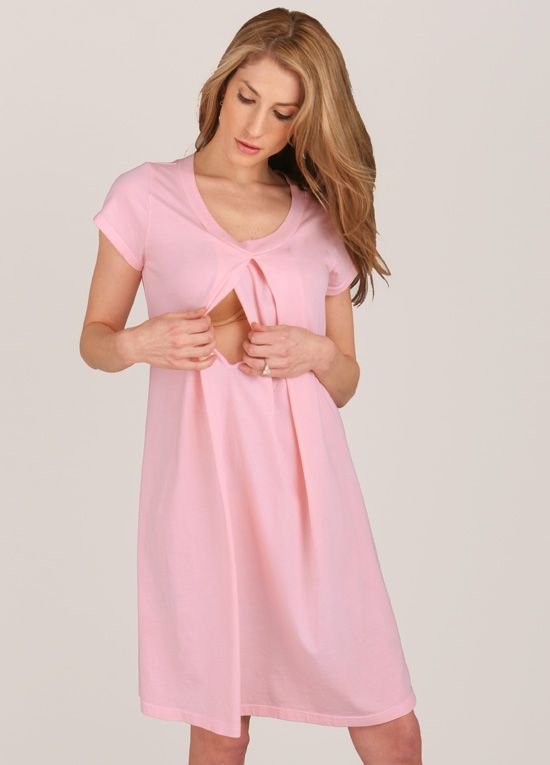Queen Bee Caitlin Pink Maternity/Nursing Hospital Gown by Floressa Clothing