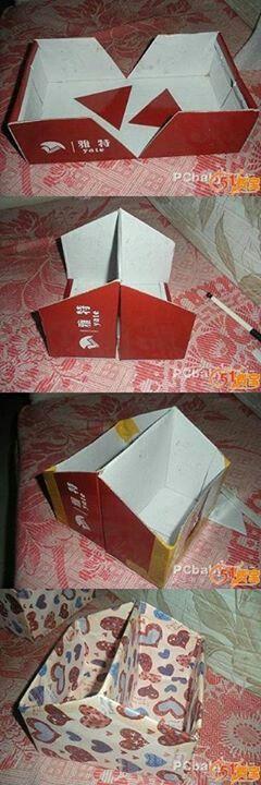 DIY Cardboard Box Organizer. Cut an old shoebox, fold and cover. Too easy.
