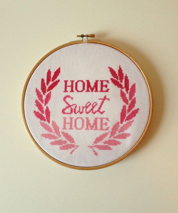 ... Pink Ombre Home Sweet Home Cross Stitch Kit by slipcoveryourlife, $17.00