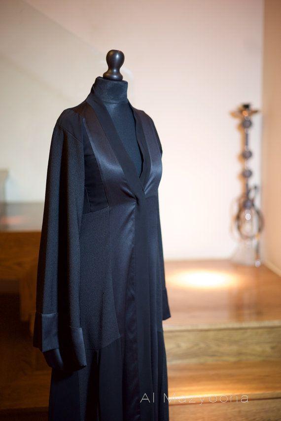 Al Mazyoona Black Embroidered Bisht Abaya Dubai by Almazyoona