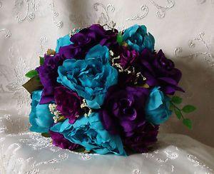 purple turquoise wedding bouquet | Teal-Turquoise-Purple-Wedding-Bouquet-Bridal-Silk-Flowers-Roses-Peony ...