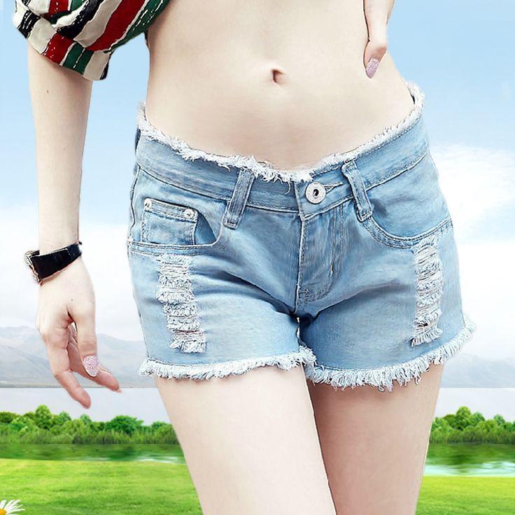 Женский отверстие джинсовые шорты 2016 новый женский свободные шорты девушка середины талии плюс размер летние джинсы шорты slim красоты
