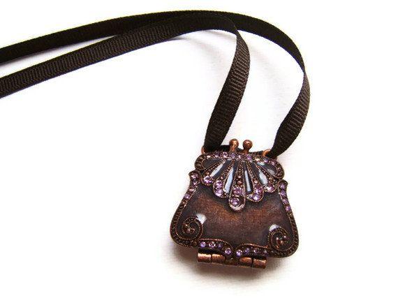 Upcycled Brown Purse Necklace, Rhinestone necklace, purse locket. ribbon necklace, vintage necklace. $20.00, via Etsy.