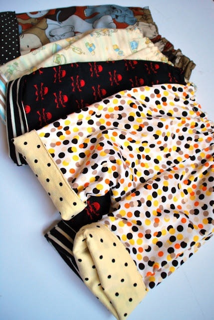reversible baby trousers - made by Rae pattern made reversible.