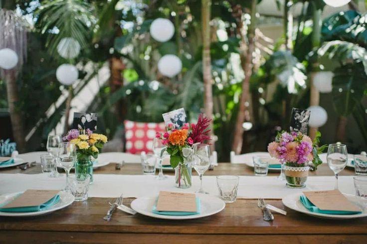 Outdoor tablescape. Beach wedding. White lanterns. Personalised. Broken Head, Byron Bay