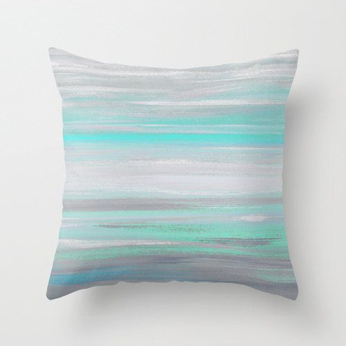 Throw Pillow Cover Grey Mint Aqua Abstract Modern Home Decor Living room bedroom accessories Cushion Cover