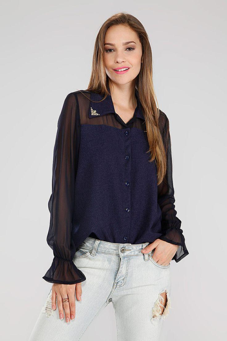 Camisa Chiffon Lã Azul Azul - Camada de Ozônio | Brandsclub.