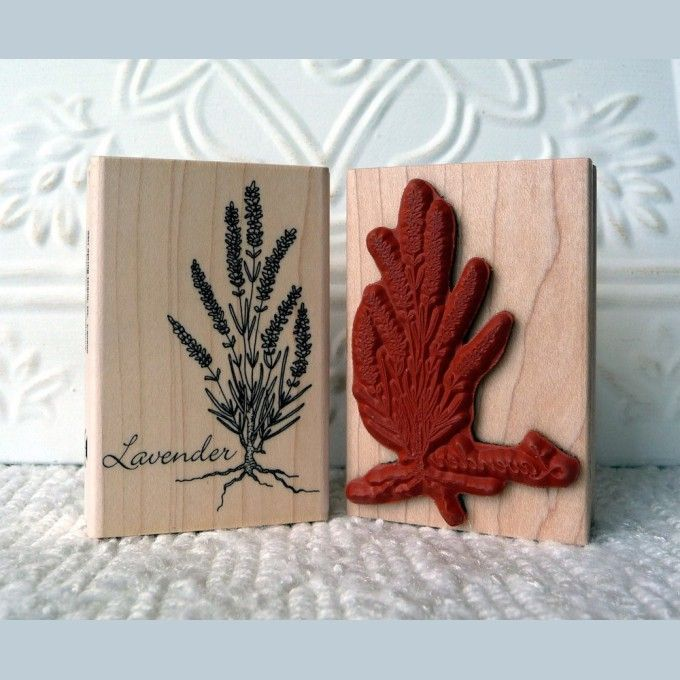 """Lavendar Rubber Stamp   A beautiful lavender plant in full bloom. This makes lovely cards and tags, but stamped on a sachet with some real lavender inside would make a wonderful gift. Stamp it on your garden stake for a potted plant. 2"""" wide by 3"""" high Dimensions given are for block size, actual image will be"""