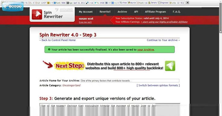 Free Content Writer for Your Blog or Website Spin Rewriter creates unlimited articles for your blog providing unique content which Google loves. For the next few days you can try it for Free