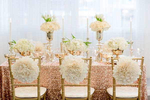 Glamorous rose gold wedding ideas chairs rose gold and for Decoration 31 decembre