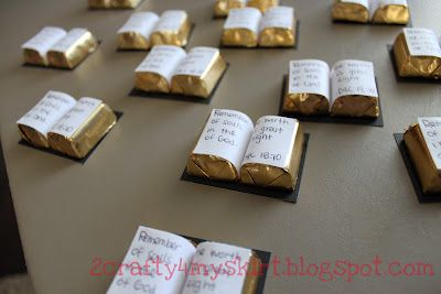 bible treats---great for VBS!  Candy treasures with printed verses. Easy!