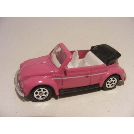 Volkswagen kever cabrio 1:64 Welly roze - vw beetle pink