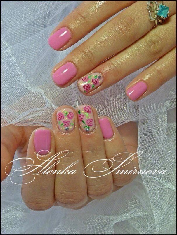 Dark Pink with Floral Accent #nails #nailart