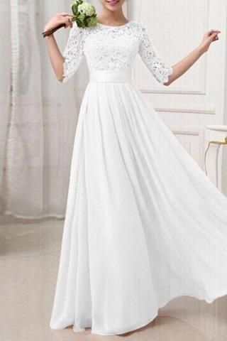 Vestido de noiva longo meia manga renda p g gg xgg