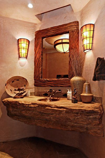 natural wood sink top. Western decorations cannot live without wooden and leather elements like sofas and chairs, patterned rugs and fabrics. Transform your bedroom, living room, kitchen, bathroom and even outdoor and see more home design ideas, here: http://www.pinterest.com/homedsgnideas/