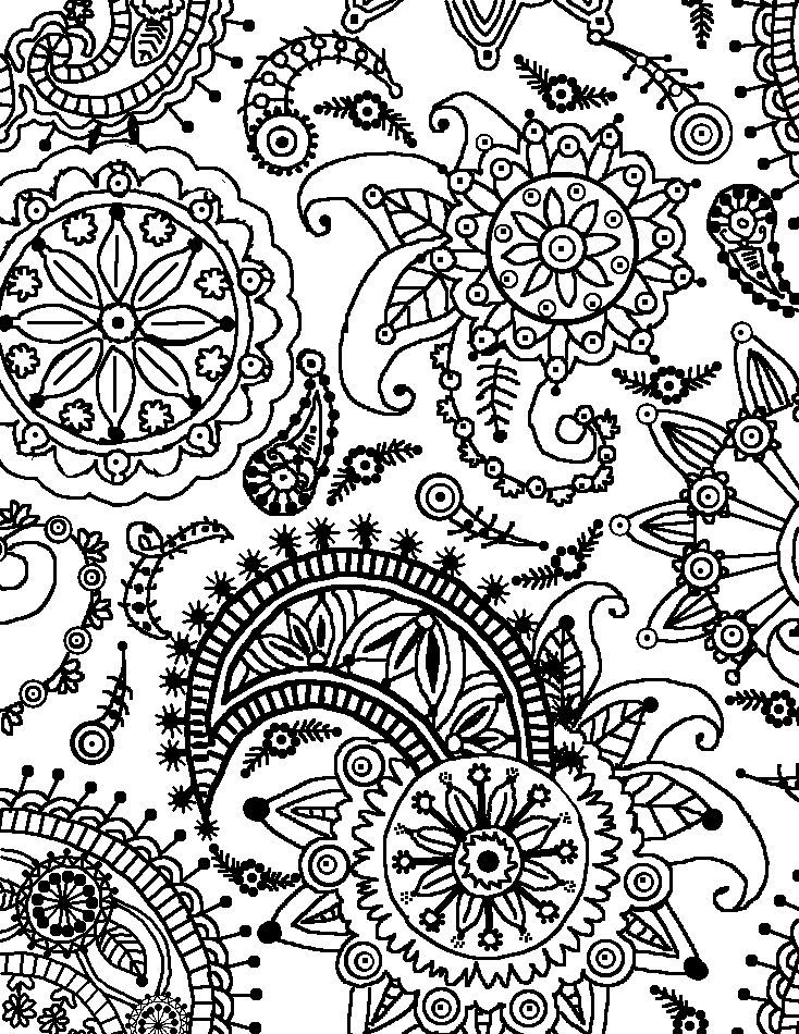Coloring Page World: Paisley Flower Pattern (Portrait)