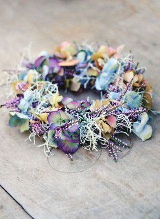 powder blue and lavender hydrangea flower crown
