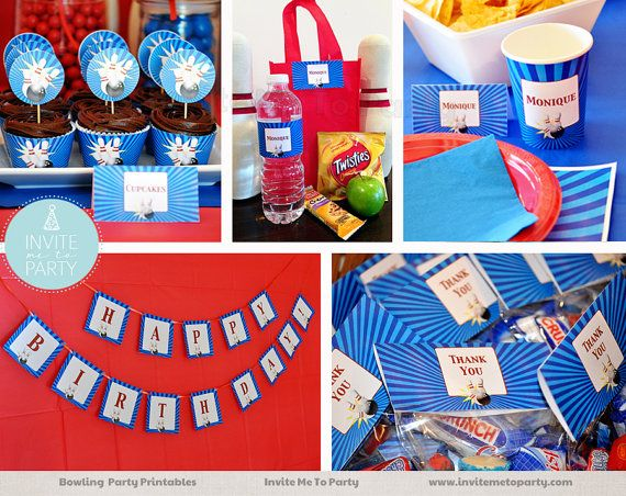 Bowling Party Decoration Printables by InviteMe2Party on Etsy
