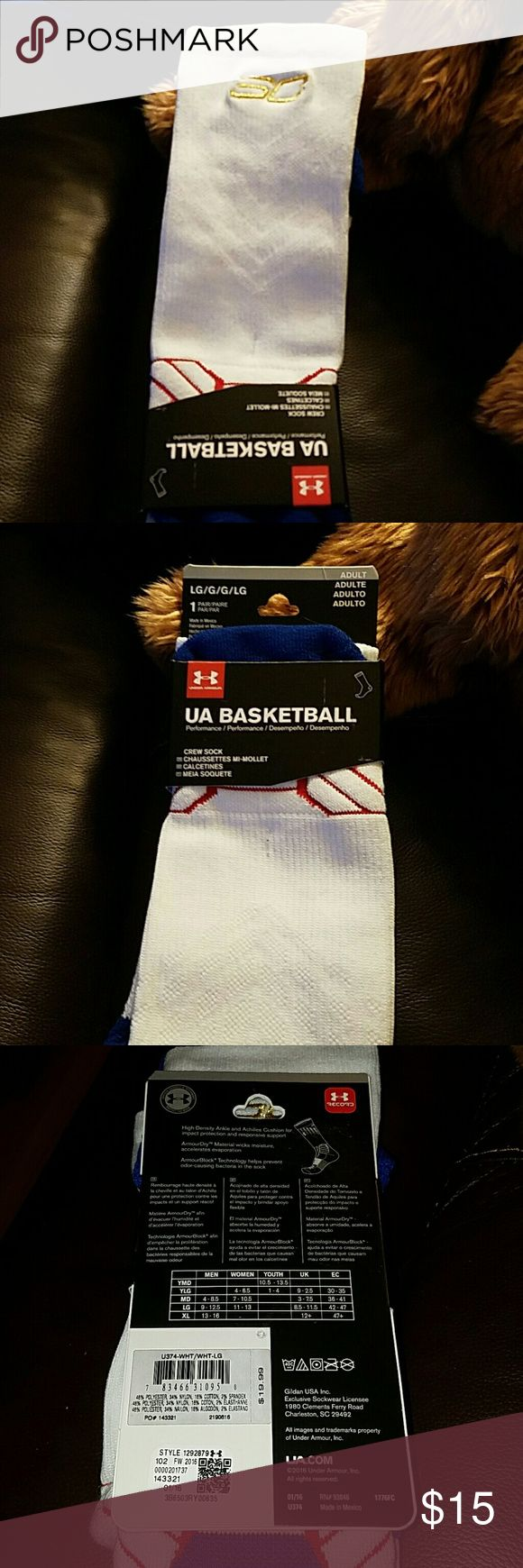 Stephen Curry basketball socks, large, nwt Stephen Curry basketball socks, nwt,  large. High density ankle and Achilles cushion for impact protection and responsive support, white/blue Under Armour Underwear & Socks Athletic Socks