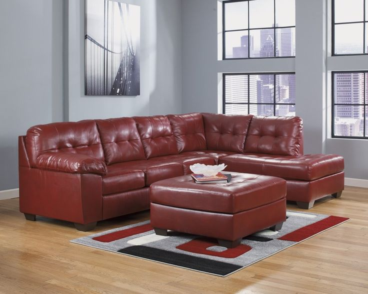 Alliston DuraBlend Contemporary Salsa Color Faux Leather Sectionals Sofa Ottoman features rich DuraBlend upholstery that beautifully enhances the sleek contemporary design without sacrificing the comfort you desire. Sofa Sectional Red Ottoman – Furnituremaxx