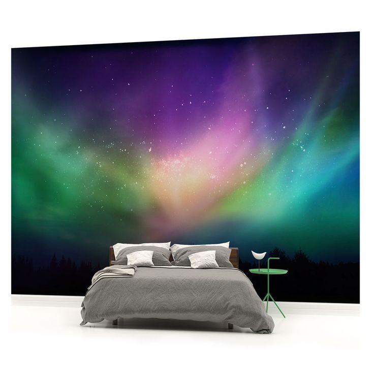 Northern Lights Sky Rural Space PHOTO WALLPAPER WALL MURAL PICTURE (W1161VE)
