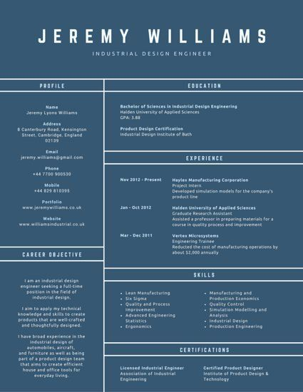 Conventional Industrial Design Engineer Resume FAR Consulting