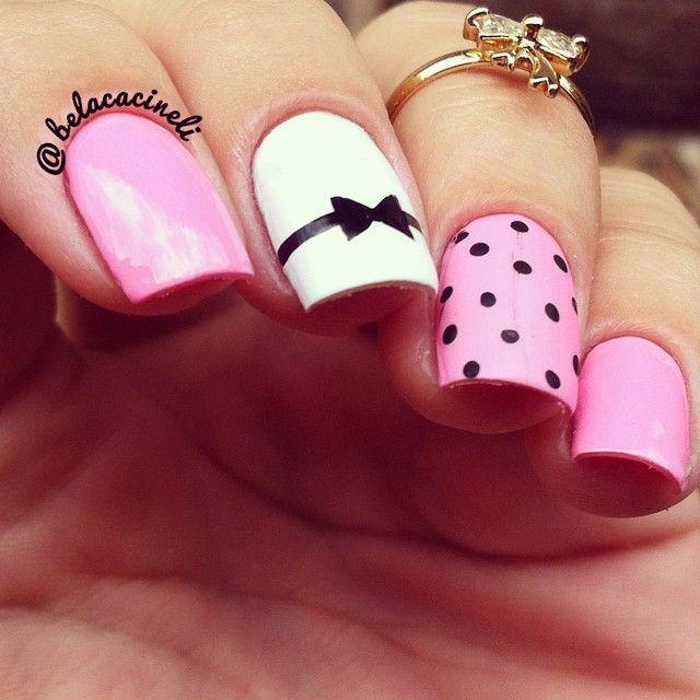 Pink, white and black nails. Lace nail art. Polka dots nail desing. Romantic. Love. Polishes. by @belacineli