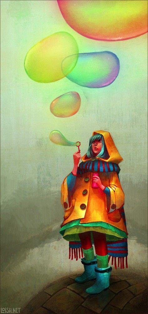 /: Loish, Art Paintings, Illustrations, Lois Vans, Rainbows, Digital Art, Blowing Bubbles, Vans Baarle, Bright Colors