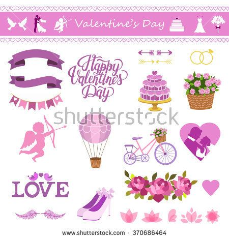 Valentine's Day set with love, Be my Valentine text. Vector illustration of Valentine Greeting Card elements with heart, cupid, flowers, bride and groom, balloon, cake, ribbon, shoes and vehicle.