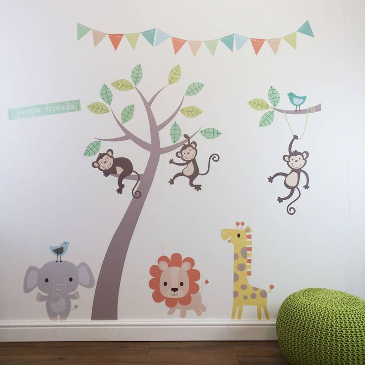 Lovely pastel jungle animals with tree wall stickers.Our fabulous pastel jungle animals with tree wall sticker set is super easy to install and can be removed and used again and again. Designed and produced in Great Britain this wall sticker is crafted from reusable printed fabric. Using Eco-solvent inks it is toxin free. These wall stickers are available in a blue or pink theme and can also be personalised for an extra £5 for up to 30 characters. An extra set of bunting can also be ...