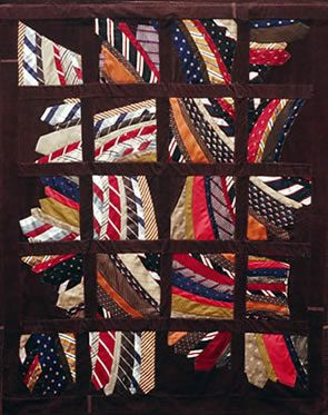 Cool tie quilt and instructions on working with neckties.