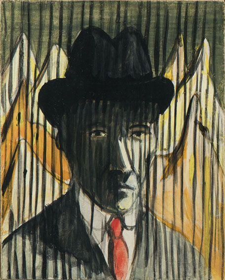 Dino Buzzati (Italie, 1907-1972) – Autoritratto (1959) tempera su cartone