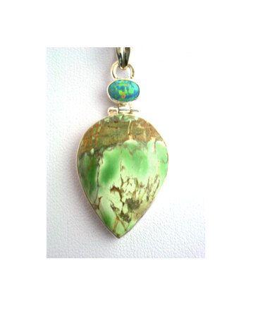 Natural Apple-Green Australian Variscite Genuine Gemstone and Blue Opal (lab) 925 Sterling Silver Tear-Drop Pendant Jewellery! by Ameogem on Etsy