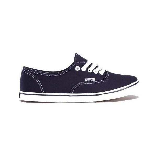 Navy White Authentic Lo Pro Womens Plimsolls by VANS (77 AUD) ❤ liked on Polyvore featuring shoes, sneakers, zapatos, canvas sneakers, plimsoll shoes, vans shoes, vans footwear and vans trainers