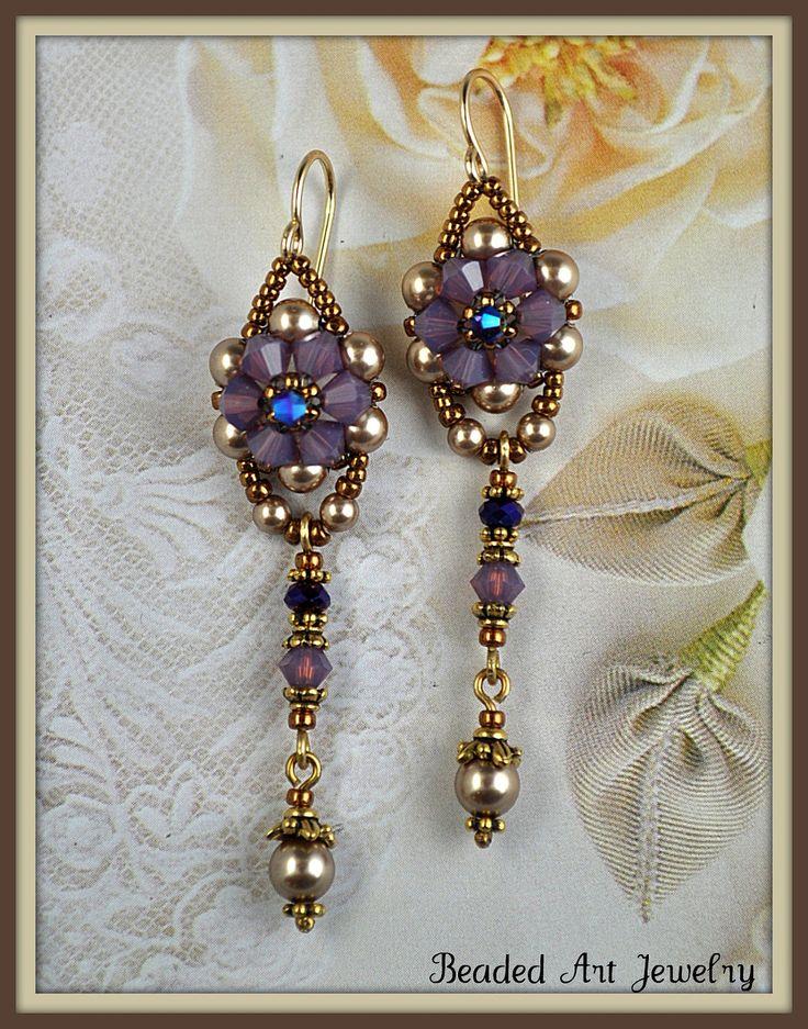 Beadwoven, Beaded, Beadwork, Crystal Flower Earrings.
